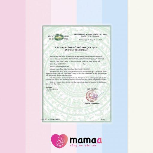 Chứng nhận an toàn vệ sinh thực phẩm của Mama sữa non Baby New A0
