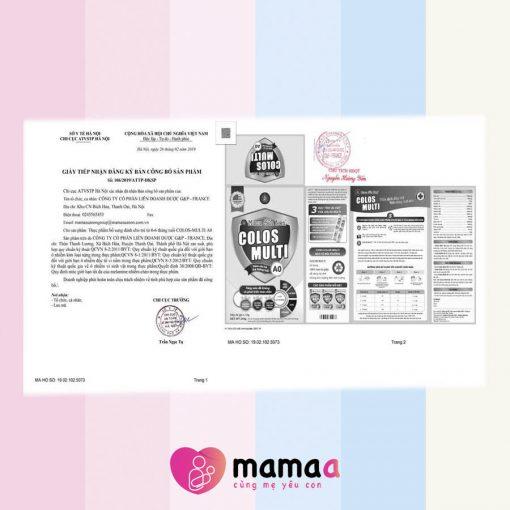 Chứng nhận của Mama sữa non Colos Multi A0