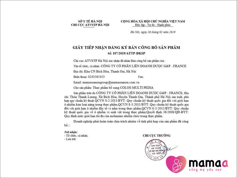 giấy tiếp nhận đăng ký bản công bố sản phẩm của Mama sữa non