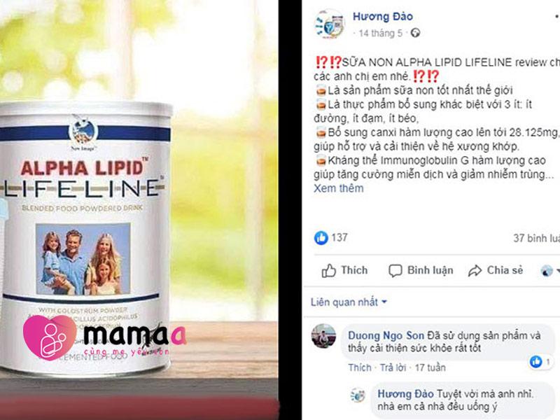 review từ khách hàng về sản phẩm sữa non Alpha Lipid