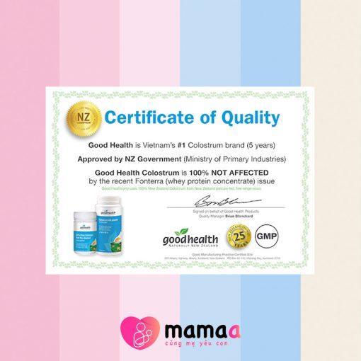 chứng nhận của Sữa non Goodheath 100 Pure Colostrum