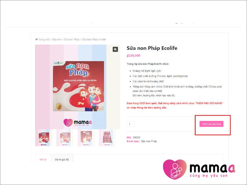 Các bước để mua hàng trên Mama